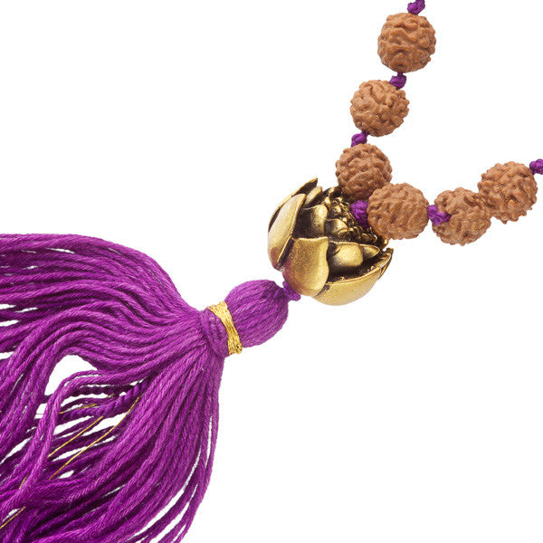 Rudraksha And Turquoise Bead Mala With Brass Lotus Charms