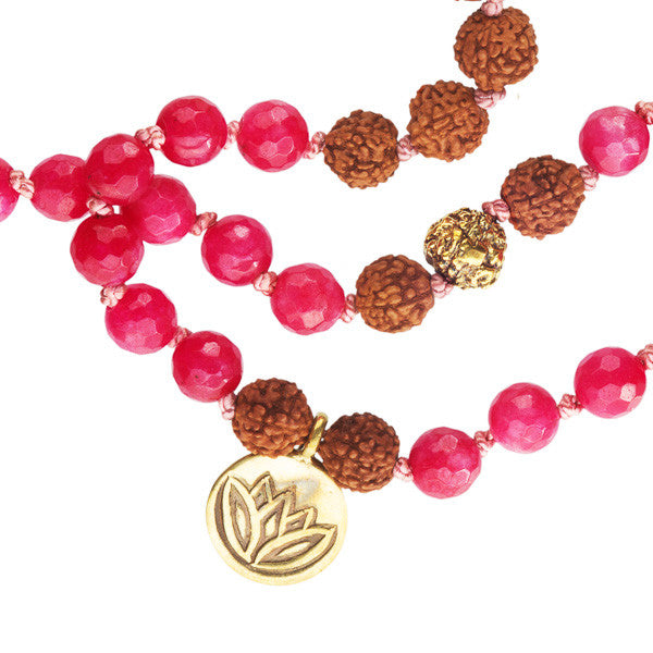 Rudraksha And Strawberry Quartz Bead Mala With Brass Lotus Charms