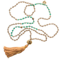 Green Agate and Smokey Quartz Stone Mala