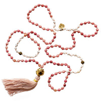 Rhodolite and White Agate Stone Mala Necklace