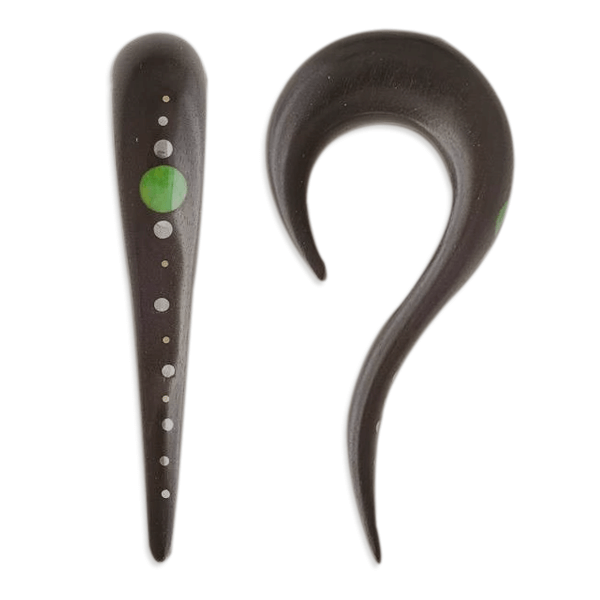 Wood Ear Stretcher With Stone Dots