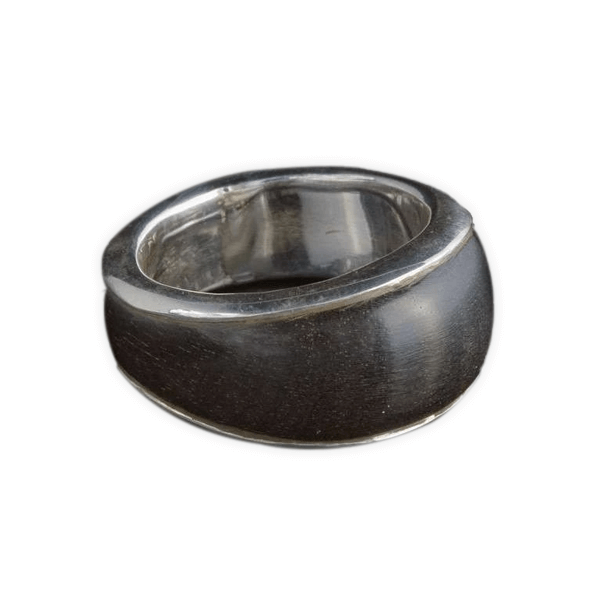 Wood Silver Ring