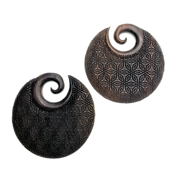 Flower of Life Ear Dark Wood Ear Weights