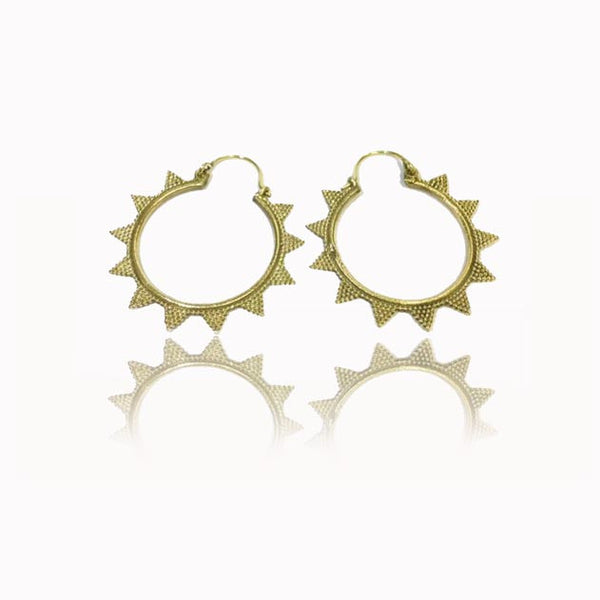 Brass Hoop Earrings with Triangles Decorations