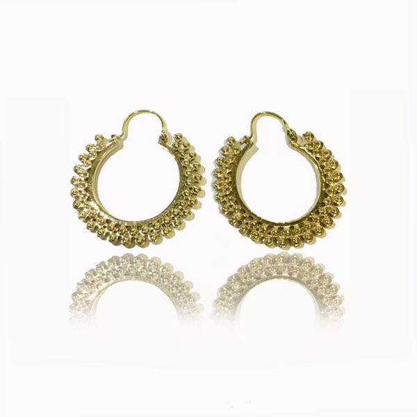 Brass Hoop Earrings with Round Decorations