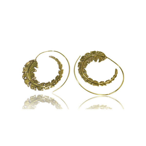 Spiral Leaf Brass Earrings