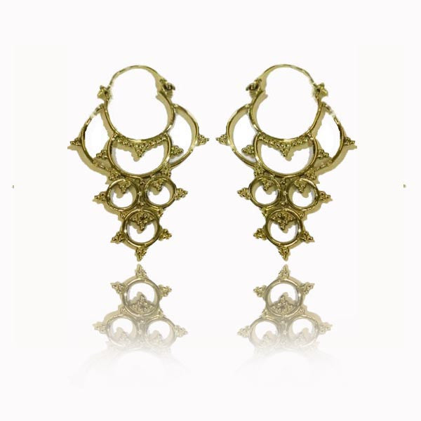 Mandala Brass Earrings Drop Shaped