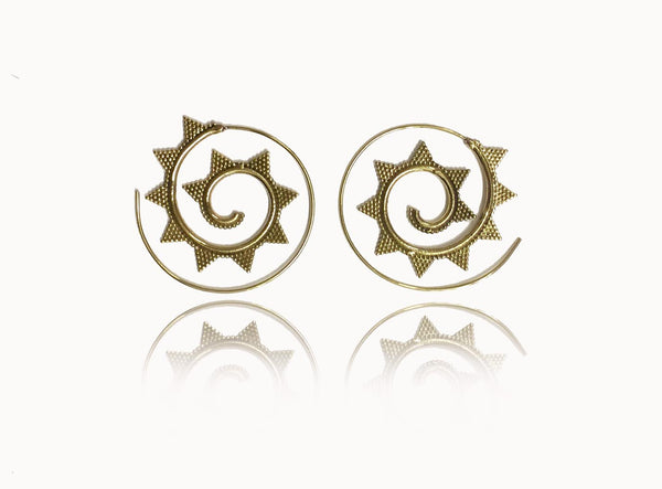 Brass Spiral Earrings with Triangles