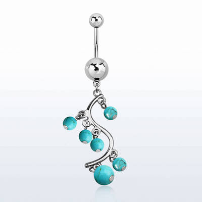 Surgical Steel Belly Banana with Turquoise