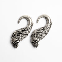 White Brass Skull Ear Weights | Tribu Dark Jewellery London