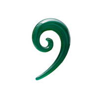Green Onyx Spiral Top Hook Ear Stretcher