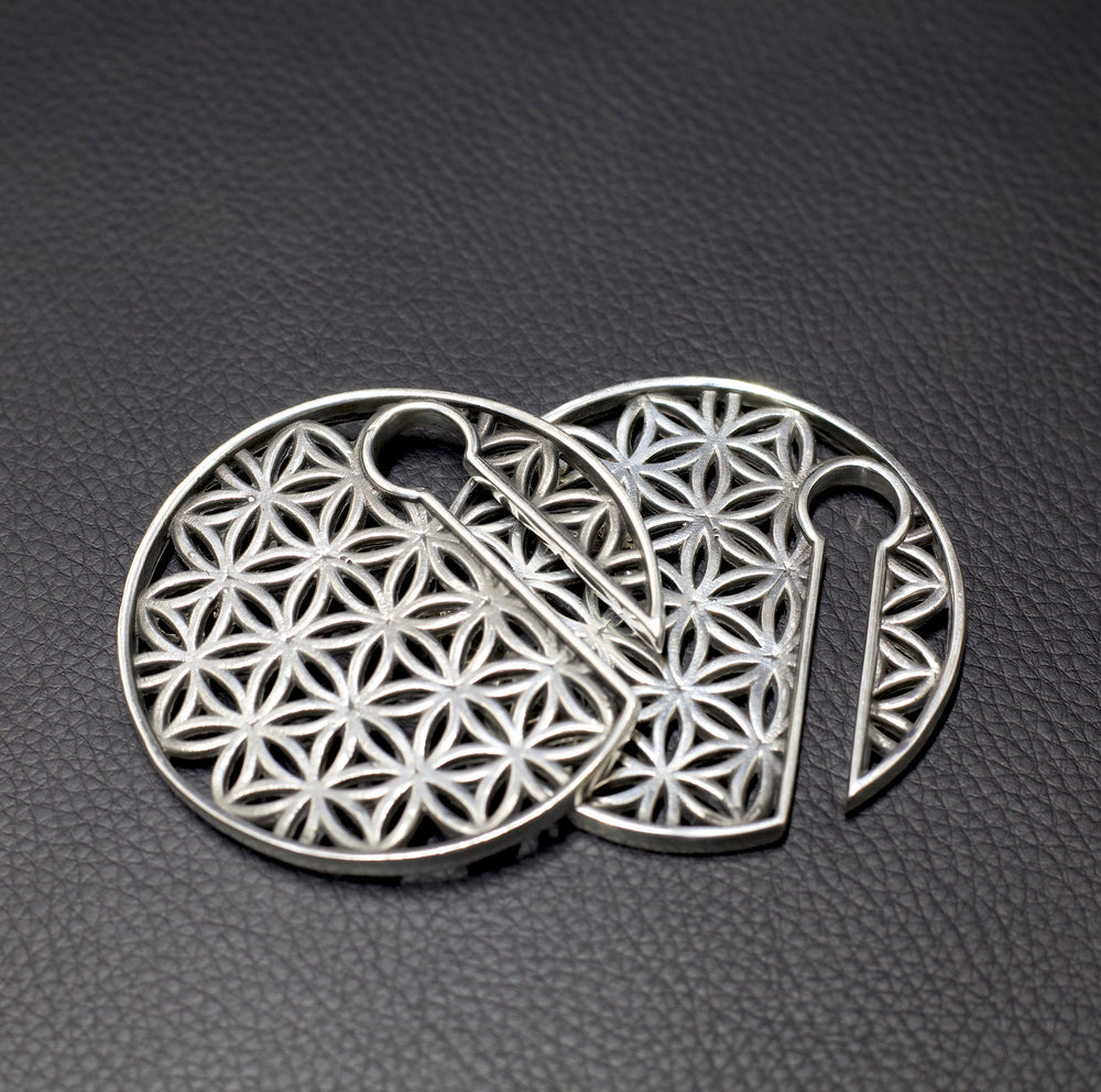 White Brass Flower of Life Ear Weights