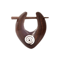 Wooden Earrings With Silver Spiral