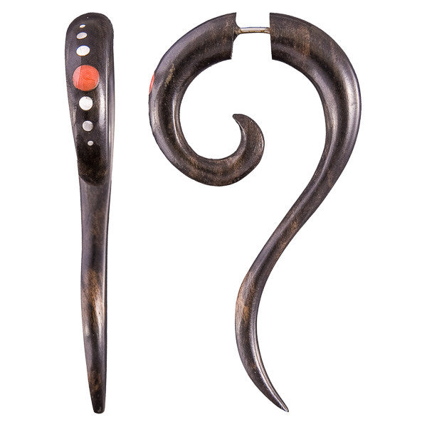 Haku black wood Fake Gauge Earring with Stone and Silver Decorations
