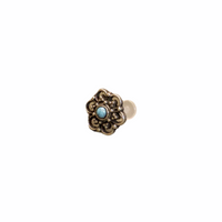 Rounded Flower Labret/Tragus Stud with Turquoise