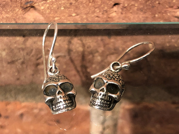 Decorated skull silver earrings