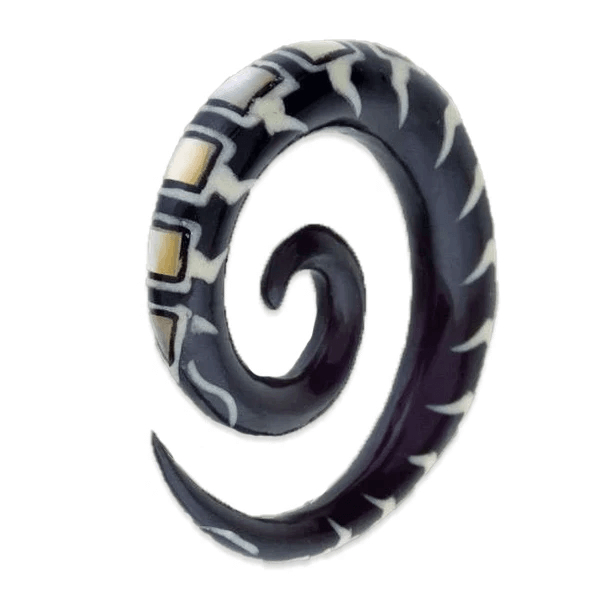 Horn Spiral Ear Stretcher with Bone and Pearl Inlays