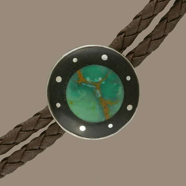 Leather Necklace With Turquoise - Tribu