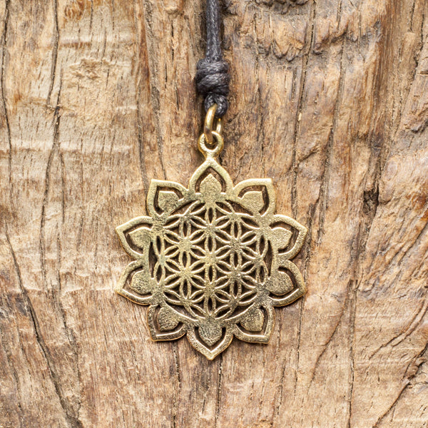 Brass Lotus Flower of Life Pendant
