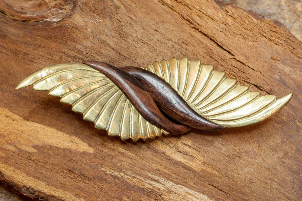 Brass Wings and Wood gauge hook earring