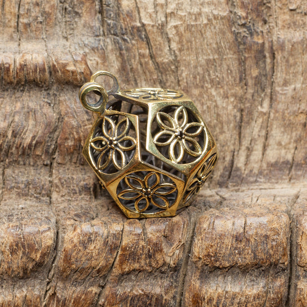Brass Locket Pendant with Flowers