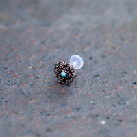 Rose Bronze Flower Labret/Tragus Stud with Turquoise