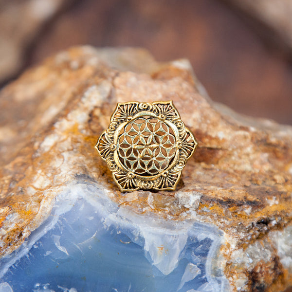 Brass Mandala Flower of Life Flesh Tunnel