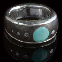 Silver Ebony Wood Ring with Turquoise and Silver Dots - Tribu