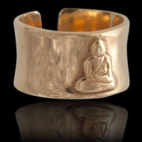 Meditating Buddha Gold Plated Silver Ring - Tribu