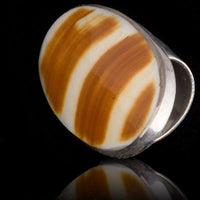 Silver Ring With Cream Color Shell - Tribu