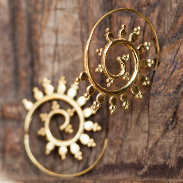 Dotted Spiral Brass Earrings