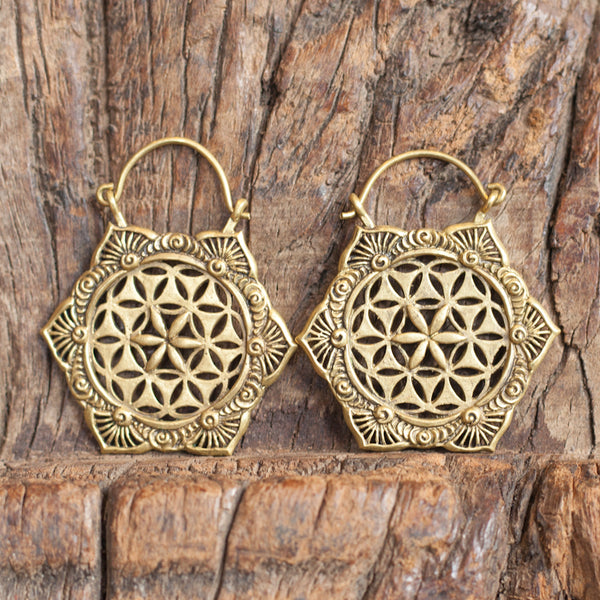 Ornamented Flower of Life Brass Earrings