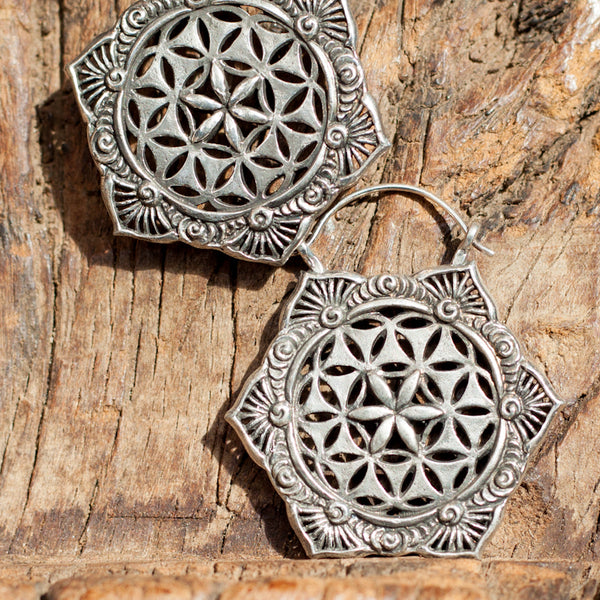 White Mandala Brass Earrings