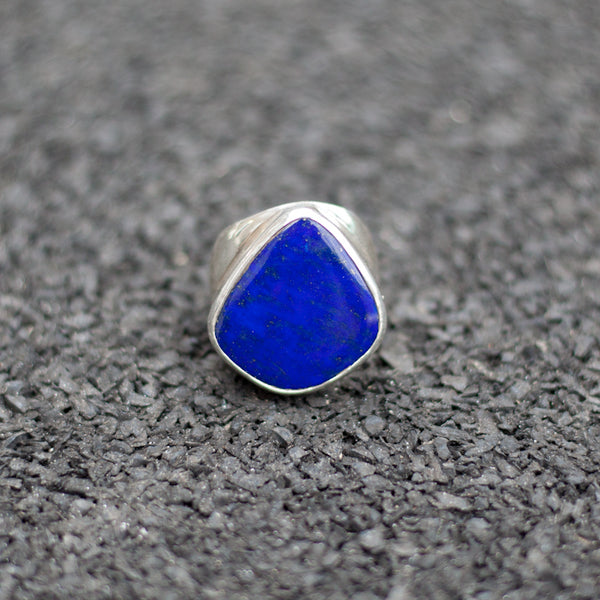 Hallmarked Silver Ring With Lapis Stone