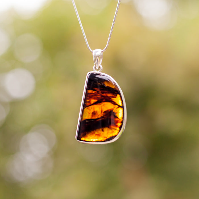 Silver Pendant With Burmese Amber