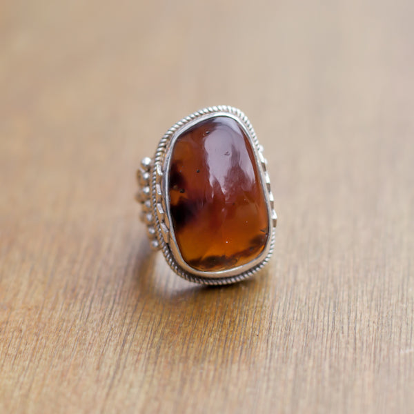 Hallmarked Silver Ring With Amber