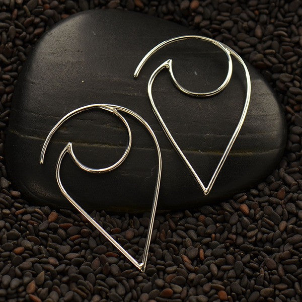 Petal Frame Silver Hook Earrings