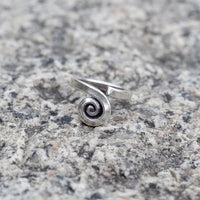 Tribal Silver Flat Spiral Centre Ring