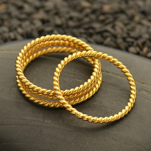 Silver Gold Plated Twisted Wire Stacking Ring