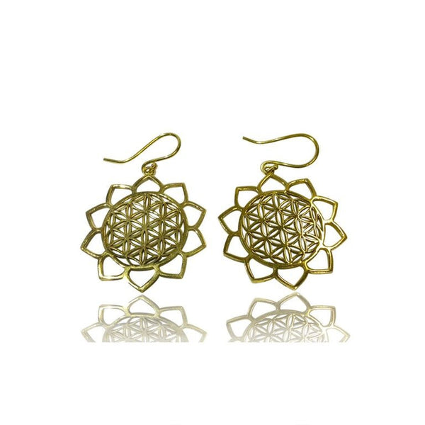 Lotus Petal Flower of Life Brass Earrings