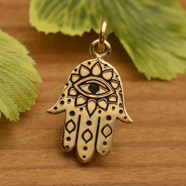 Bronze Hamsa hand charm with Evil Eye