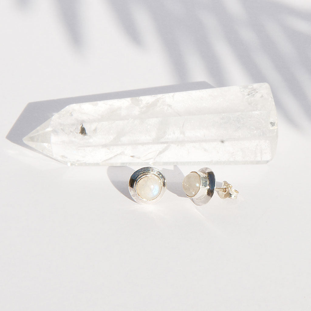 Rainbow Moonstone Stud
