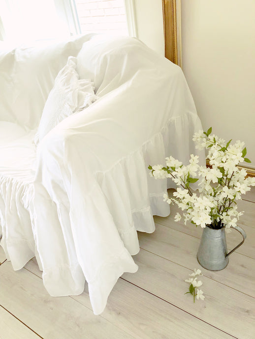 White Farmhouse Ruffle Sofa Cover