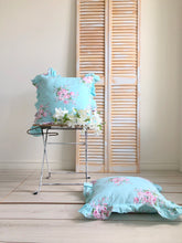 Shabby Blue floral throw pillow
