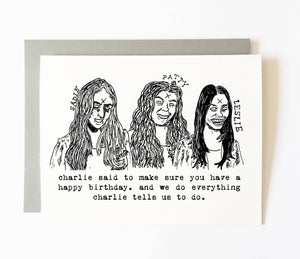 MANSON GIRLS birthday card