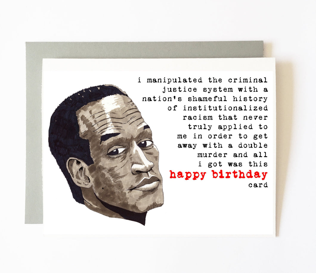 OJ SIMPSON birthday card