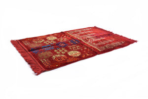 "Al Arabia Muslim Prayer Rug - Made from Embossed Velvet - Features Special Medina Design & Fringes On Both Sides - Portable Islamic Prayer Mat - Perfect Gift for Ramadan & Special Occasions, 44 x 27"", Red - MuslimPrayerRug"