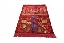 "Load image into Gallery viewer, Al Arabia Muslim Prayer Rug - Made from Embossed Velvet - Features Special Medina Design & Fringes On Both Sides - Portable Islamic Prayer Mat - Perfect Gift for Ramadan & Special Occasions, 44 x 27"", Red - MuslimPrayerRug"