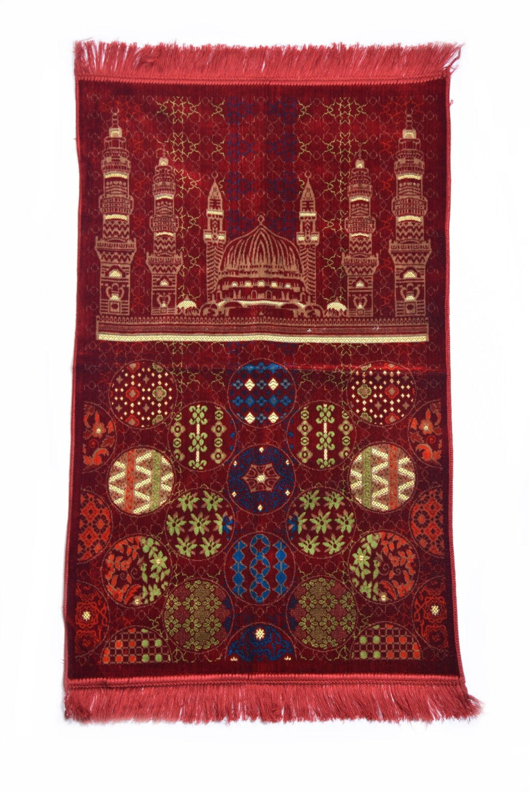 Al Arabia Muslim Prayer Rug - Made from Embossed Velvet - Features Special Medina Design & Fringes On Both Sides - Portable Islamic Prayer Mat - Perfect Gift for Ramadan & Special Occasions, 44 x 27