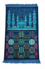 "Load image into Gallery viewer, Al Arabia Muslim Prayer Rug - Made from Embossed Velvet - Features Special Medina Design & Fringes On Both Sides - Portable Islamic Prayer Mat - Perfect Gift for Ramadan & Special Occasions, 44 x 27"", Blue - MuslimPrayerRug"